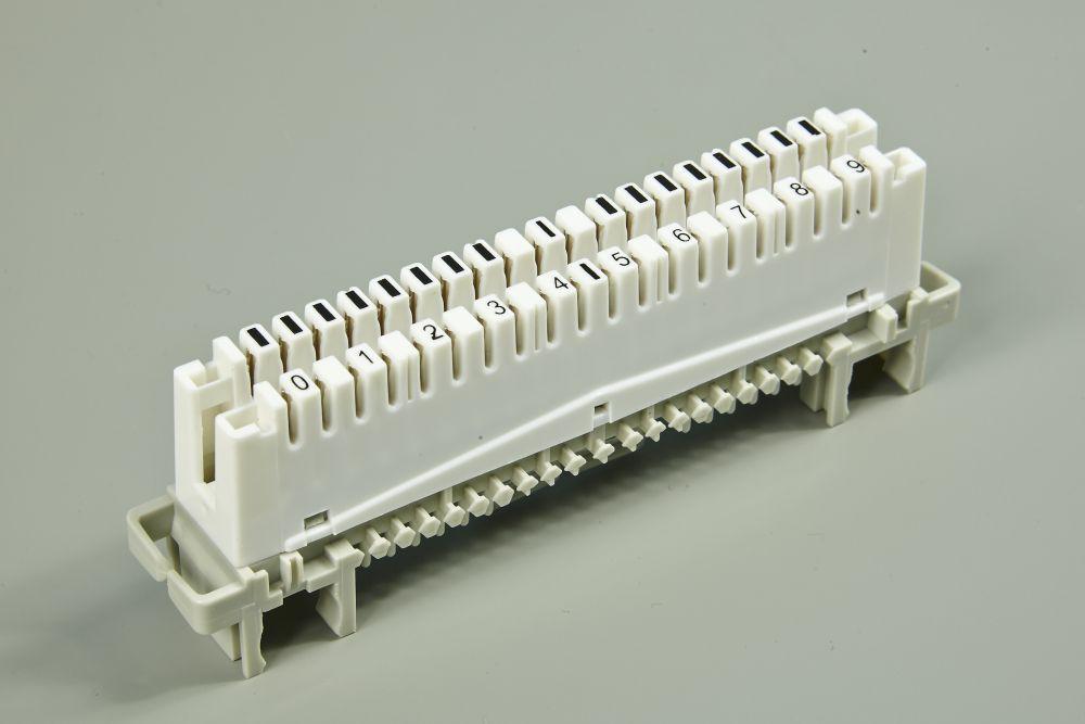 Плинт LSA-PLUS/PROFIL 2/10 с нормально замкнутыми контактами, маркировка 0...9