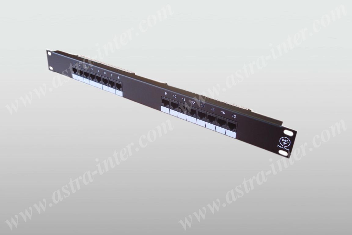 Патч-панель 16 портов RJ-45, кат.5е, тип KRONE (19