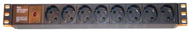 Блок  розеток 220В,8 гн.,1U, 16A, встроенный кабель 3Х1,5 мм+индикатор