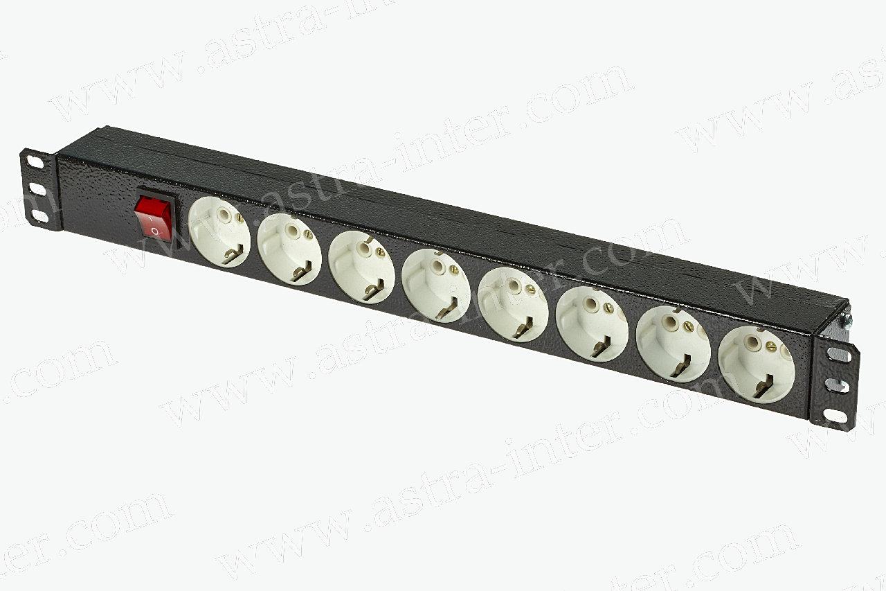 Блок  розеток 220В, 8 гн., 1U,  10A, черный + выключатель, без кабеля